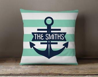 Throw Pillow, Pillow Cover,  Dorm Pillow Personalized Pillow, Monogram: Nautical Anchor Stripes Pick Your Colors