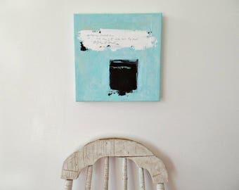 Contemporary wall art, Original abstract painting, Modern wall decor, Mixed media canvas, Blue artwork, Modern abstract art, Fine art