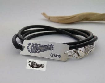 New Daddy gift, Your Baby's actual Footprint or Handprint 925-silver handmade leather bracelet, Personalized gift for HIM, Brother, Dad