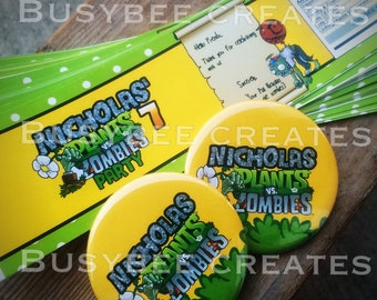 Plant vs Zombies Custom Labels - Personalized PvZ Party Birthday Labels - PVZ Pea Shooter Gamer Party  Water Bottle Label & Button Pin Pack