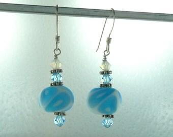 SALE: Swirl Glass Light BLUE & WHITE Matte Lampwork Swarovski Crystal w/ Sterling Silver Earrings