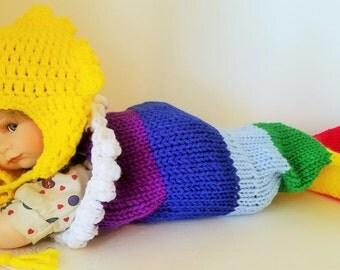 Newborn Rainbow Baby Cocoon with Sunshine Hat, Handmade