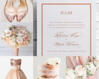 Rose Gold Wedding Invitations, Rose Gold Invites, Pink and Gold, Rose Gold Foil, Printables, Invitation Template, JPEG, PDF