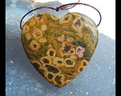Ocean Jasper Gemstone Heart Pendant Bead,35x34x8mm,15.2g(c0396)