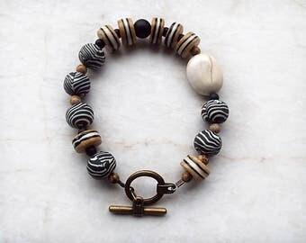 Black Brown White Bracelet, Rustic Bracelet, Polymer Clay, Beaded, Handmade