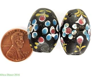 2 French Ambassador Venetian Trade Beads Black Africa Loose 103655