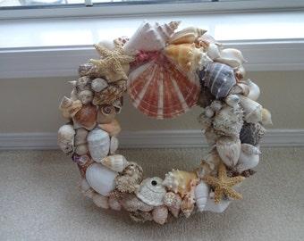 Seashell Wreath  Nautical Wreath   Beach Home Decor  Beach Decor  Home Decor  Beach Wreath  Birthday Gift  Hostess Gift  Bathrooom Decor