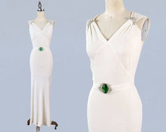 RESERVED 1930s Wedding Dress / 30s Crepe White Gown / Bias Cut / Plunging V BACK / Rhinestone Dress Clips / Art Deco Belt Buckle