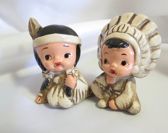 Vintage Novelty Indian Children Salt and Pepper Shakers Japan