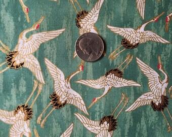 One yard Japanese kimono cotton fabric crane bird printed