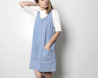 90s BLUE denim jean JUMPER OXFORD faded dress