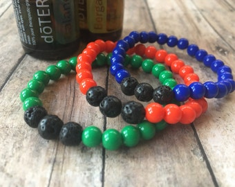 Essential Oil Diffuser Bracelet-Beaded Stretch Bracelet-6mm Acrylic Beads-Lava Rock Beads