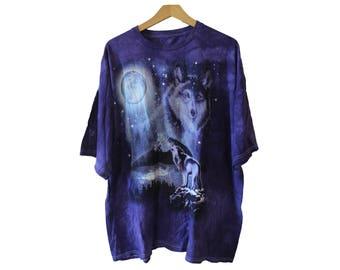 Purple Howling Wolf T-shirt Plus Size XXL