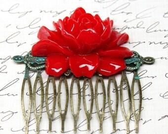 SALE Statement Red Rose Hair Comb Retro Bronze Bridal Jewelry