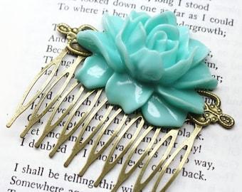 SALE Statement Mint Green Rose Hair Comb Retro Bronze Bridal Jewelry