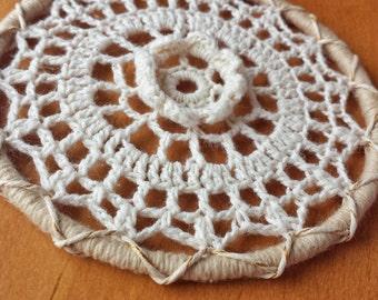 4 inch Crochet Mandala Medallion, Decorate Your Own Dream Catcher, Flower Doily Dream Catcher Starter Ring