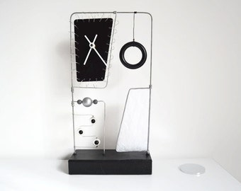 Clock Kinetic Art - Wire Sculpture - Beads - Hand Painted - Abstract Modern