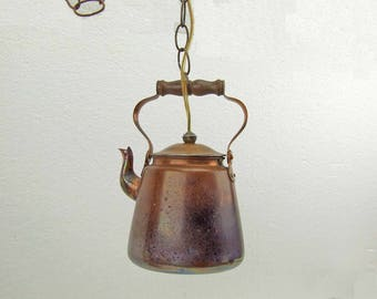 Upcycled Recycled Copper Tea Kettle Pendant Light Hanging Copper Tea Kettle Light Swag Copper Tea Kettle Light Glamping Farm House