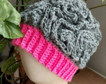 Pink and the Brain Crocheted Hat - free shipping
