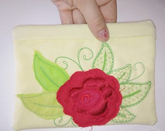 Urban rose little Purse, Pouch, Envelope ITH, Pocket, ITH In The Hoop Machine Embroidery designs In-The-Hoop 5x7 one size