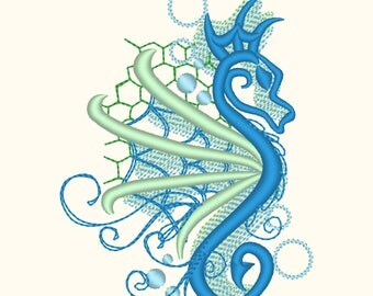 Awesome curl and stunning seahorse shadow embroidery designs assorted sizes 4x4, 5x7, seahorse silhouette nautical summer embroidery