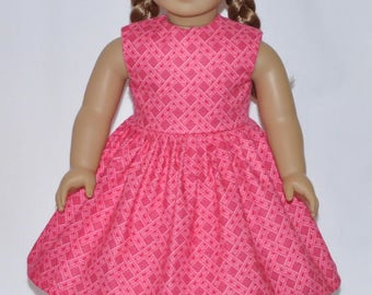Reddish Ribbon and Stars Print Doll Dress Made To Fit 18 Inch American Girl Doll Clothes