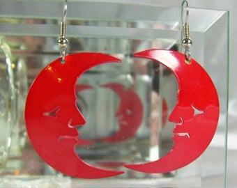 Spring Special Sale Vintage Earrings Red Enamel Metal Man in the Moon Dangle Earrings