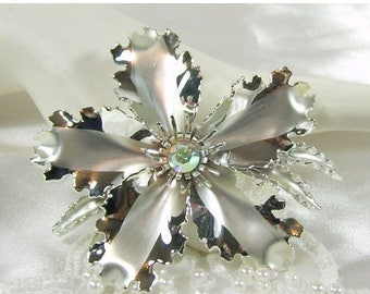 Spring Special Sale Vintage Brooch Silver Metal Flower Rhinestone Pink Aurora Borealis Large Winter Frost