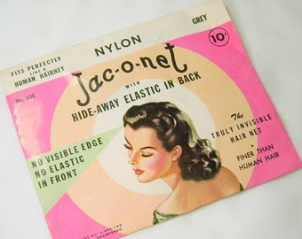 ON SALE Vintage Jac-O-Net Human Hair Net No 158 Grey Original Package with 2 Nets