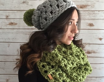 Lime and Silver Grey Chunky Oversized Infinity Scarf & Pom Pom Hat Set,  Extra Wide Infinity Scarf, Gift Set, Winter Accessories