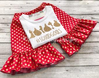 Girls Princess Squad Goals Shirt featured in glitter gold
