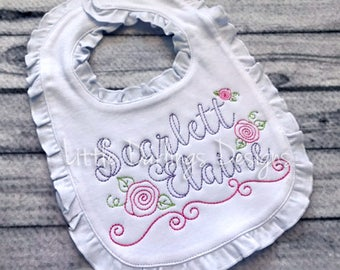 Sweet Girls Ruffle Bib with Vintage Stitched Name and Roses Adorning