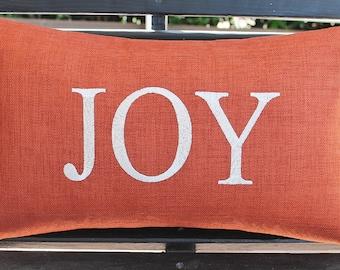 Monogrammed Outdoor Fall Pillow Cover In Burnt Orange   Joy   Wedding