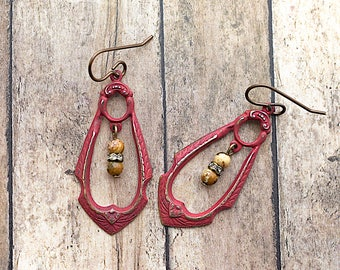Red Patina / Picture Jasper Rhinestone Drop / Brass Earrings