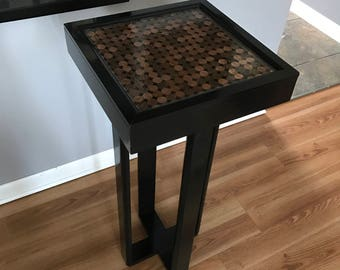 Custom accent/side/occasional resin top penny table