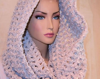 Crochet Infinity Scarf, Crochet Scarf, Black and White Infinity Scarf, Crochet Cowl, Womens Scarf, Handmade  Black White  Infinity Scarf