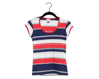 """Vintage """"You Babes"""" 70's Red White & Blue Stripe Scoop Neck 100% Cotton Women's Top, Made in USA - Medium"""