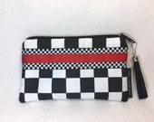 Black and white clutch, checkered Purse, checkered purse, checkered clutch, checkered Bag, race car purse, race car bag, race car clutch