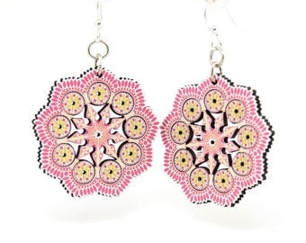 Spring Mandala Earrings - Laser Cut Wood - Super light weight Earrings