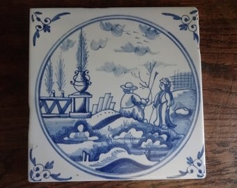 Vintage Italian Delft Style large wall tile blue white sold individually aged look reproduction couple garden c 1980-90's / English Shop