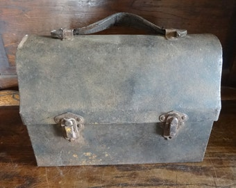 Vintage French Handheld Lunch Box Metal Tin Canister circa 1940-50's / English Shop