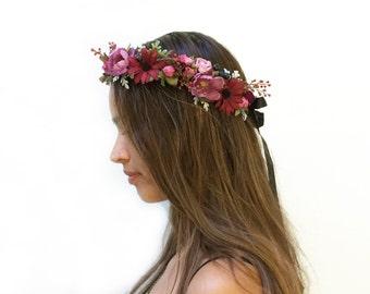 Woodland Purple Flower Crown, Coachella, Bridal Flower Crown, Festival Style, Burgundy, Lavender Floral Crown, Couronne de Fleurs, Rustic