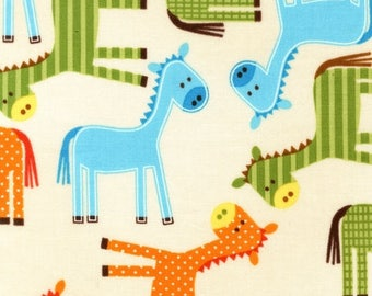 Last One Fat Quarter Urban Zoologies Bermuda Ponies by Ann Kelle for Robert Kaufman