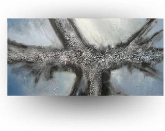 Modern Abstract Metallic Blue Metallic Silver Original Painting Gray and Blue Textured Wall Decor Home and Living  - 24 x 48 -Skye Taylor