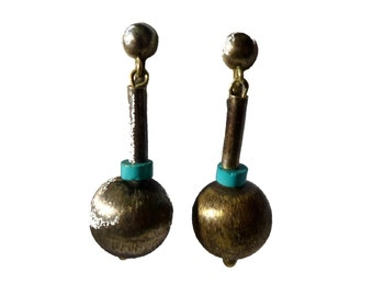 Taxco Sterling Silver Avant Garde Turquoise & Silver Ball Drop Screw On Earrings #2275