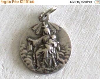 SALE Antique French Medal Pendant Lasserre Adolpe Penin Notre Dame de Carmel & Jesus and The Sacred Heart