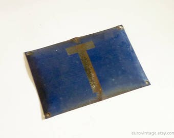 "Vintage 12"" Blue Enamel Sign / Industrial Metal Sign / Letter T"