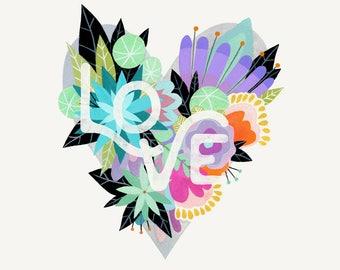 Love Blooms - Fine Art Print 8x10 rainbow heart