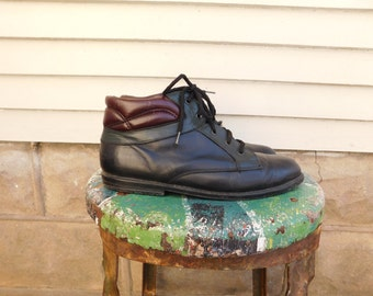 Vintage Color Block Leather Ankle Boots Size 8 Womens