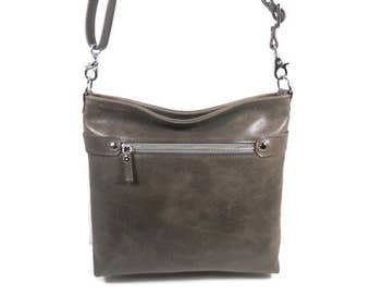 Grey Leather Crossbody Bag, Leather Messenger Bag, Leather Hobo Bag, Leather Shoulder Bag,  Minimalist Purse, Made in USA